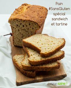 Pain sans gluten spécial sandwich et tartine      Recette sans gluten     Recette sans lait     Recette bio En savoir plus sur : >