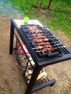 Moveable hibachi grill and fire pit with wood storage Barbecue Design, Grill Design, Barbecue Grill, Grilling, Hibachi Grill, Fire Pit Grill, Diy Fire Pit, Iron Furniture, Steel Furniture