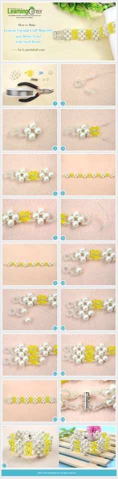 How to Make Lemon Crystal Cuff Bracelet with White Pearl and Seed Beads---vma.
