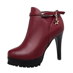 TMates Womens Short Fur Lined Side Zip Buckle Strap Platform High Heel Stiletto Ankle Booties -- This is an Amazon Affiliate link. You can get more details by clicking on the image.