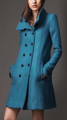 Burberry Wool A-Line Coat in Blue (pale petrol blue)