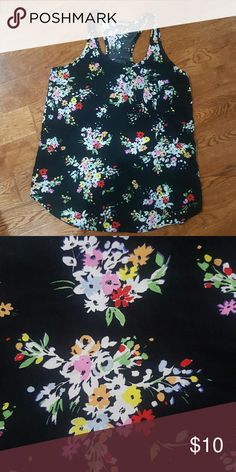 Floral Racer back tank Black tank with floral pattern. Racer back with small front pocket. Super cute and in great condition. Express Tops Tank Tops
