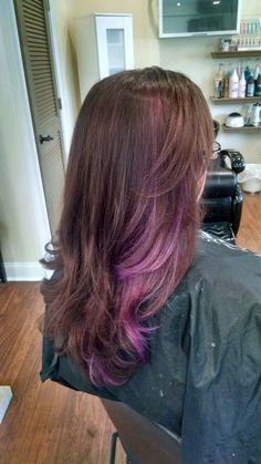 Went in for purple peekaboo… Purple Brown Hair, Purple Hair Highlights, Light Brown Hair, Light Hair, Purple Peekaboo Hair, Brown Curls, Hair Lights, Dip Dye Hair, Dye My Hair
