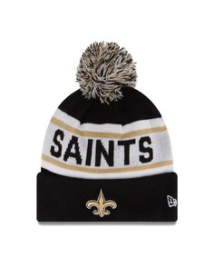 NFL New Orleans Saints Biggest Fan Redux Beanie Acrylic outer with Fleece  lining for added warmth New Era Pom Pom Cuff Knit Fashion Knit 30265e3a7