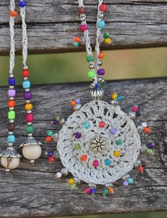 White TRIBAL MANDALA crochet NECKLACE boho by PanoParaTanto