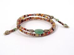 Egyptian Bracelet Pink and Green Memory Wire Bracelet by bluetina, $40.00