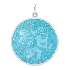 Betteridge Large Silver St. Christopher Medal with Turquoise Enamel
