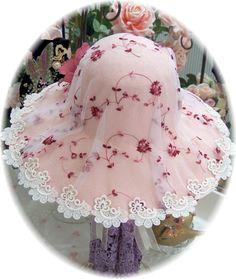Image 2 of Victorian Cottage Burgandy Lace Tea Hat