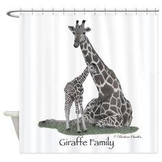 Giraffe Family Shower Curtain on CafePress.com