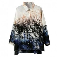 $21.39 Vintage Turn-Down Collar Forest Single-Breasted Long Sleeves Irregular Design Women's Blouse