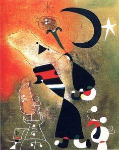 """Joan Miró - """"Mujer y pájaro a la luz de la luna"""", óleo sobre tela.Tate Gallery,     London, UK    Tomado página Facebook: """"Arte Moderna"""""""