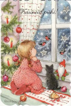 New single Christmas card by Aila Utriainen, girl, cat, window + small card Old Time Christmas, Christmas Thoughts, Christmas Scenes, Christmas Cats, Winter Christmas, Vintage Christmas Images, Retro Christmas, Christmas Pictures, Image Deco