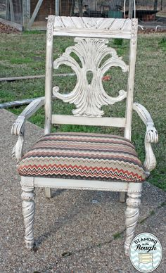 Chair painted in Behr Antique White, distressed and antiqued with Minwax stain.