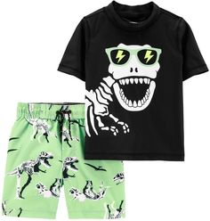He'll be ready for fun in the sun with this boys' Carter's dino skeleton rash guard top and matching shorts set. Boys Trunks, Swim Trunks, Dry Skin Causes, Dinosaur Skeleton, Kids Swimwear, Kids Swimming, Short Tops, Rash Guard, Swim Top