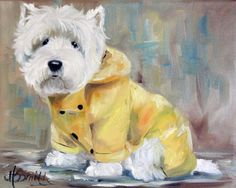 Westie in a Raincoat Oil Painting