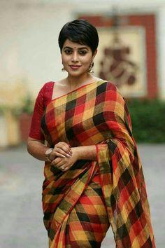 Bollywood News's media statistics and analytics Checks Saree, Simple Sarees, Stylish Sarees, Elegant Saree, Indian Beauty Saree, Indian Sarees, Tamil Actress Photos, Sexy Shorts, Beautiful Saree