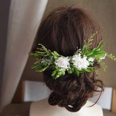 再々販 Anne green head dress:*プリザのグリーン バックカチューシャ ヘッドドレス   ハンドメイドマーケット minne