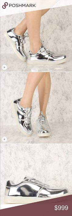 Metallic Sneakers Stay in style with a cute pair of flats like these! These cuties are a must have. Features include a faux leather texture with a metallic finish, round toe, front lace up, a transparent sole, and a cushioned foot bed. Hot and rocked by all the celebrities!!!! The latest in Hollywood!! Shoes Sneakers