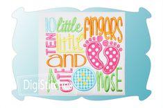 Ten Little Fingers Ten Little Toes Applique - DigiStitches Machine Embroidery Designs