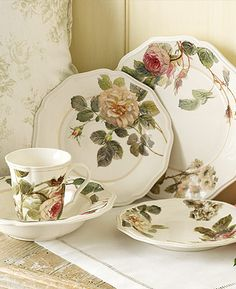 I want to pass on a mismatched tea set to my daughter, her collection so far includes 4 of these from Anna Griffin by Lenox. Dinner Sets, Dinner Ware, Dinner Plates, Beautiful Table Settings, Vintage China, Vintage Pyrex, Plates On Wall, Plate Wall, Rose Cottage