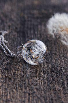 Dandelion Necklace  Resin Orb Globe Necklace  Make A by UralNature