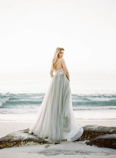 "Elizabeth Dye ""Halo"" gown  Winter Seaside Editorial 