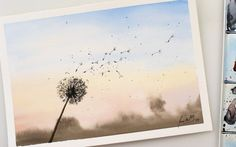 How To Paint A Dandelion: 10 Amazing and Easy Tutorials! Dandelion Painting, Dandelion Flower, Step By Step Watercolor, Step By Step Painting, Painting Videos, Painting Techniques, Easy Paintings For Beginners, White Gouache, 6th Grade Art