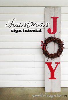Make some Christmas JOY!!! #tutorial #wood #sign #joy #Christmas http://spoonfulofimagination.com/christmas-joy-sign-tutorial/