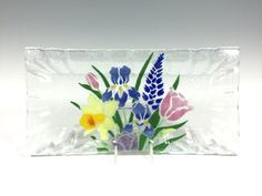 Spring Flowers Tray Fused Glass by Richmondglassworks on Etsy