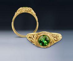 "Cross Jewelers, Portland ME - ""fiddlehead"" ring with green Maine tourmaline."