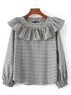 SheIn offers Lantern Sleeve Checkerboard Ruffle Blouse & more to fit your fashionable needs. Stylish Dresses For Girls, Simple Dresses, Baby Frocks Designs, Baby Girl Dress Patterns, Sleeves Designs For Dresses, Kurta Designs Women, Muslim Fashion, Ideias Fashion, Kids Outfits