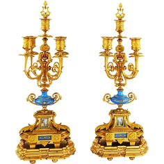 Pair Antique French Empire gilded bronze 5 light Candelabras Found on RubyLane.com