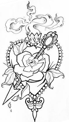 Cross Coloring Page, Love Coloring Pages, Printable Adult Coloring Pages, Coloring Books, Plant Sketches, Art Drawings Sketches, Tattoo Drawings, Cool Drawings, Sugar Tattoo
