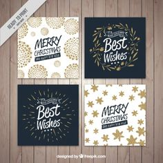 Quatre collection de cartes de Noël Vecteur gratuit