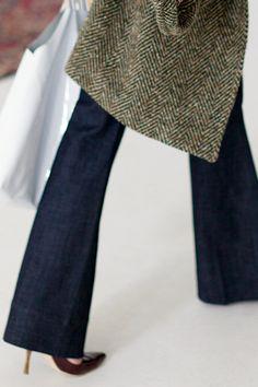 Brown Leather Pumps, Dark Wide Leg Denim and Tweed Jacket