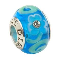 Turquoise Murano Glass and Sterling Silver | Tara's Diary Shamrock Spiral Charm Bead