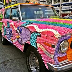 Best art car ever -- covered in marshmallow Peeps! An entry in the 2011 Art Car Parade in Houston, Texas. by MOLLYBLOCK, via Flickr