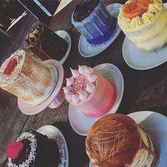 Ooooh choices ... Whats u'r Fav? #blueberrycake #rosewatercake #caramelcherrycake #carrotcake #coffeecake #redvelvetcake