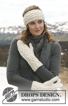 """Alpine Twist - DROPS ear warmer and mittens in """"Classic Alpaca"""" or """"Puna"""" with cables. - Free pattern by DROPS Design Knitted Mittens Pattern, Knit Headband Pattern, Knitted Headband, Knitted Gloves, Knitting Patterns Free, Free Knitting, Free Pattern, Drops Design, Yarns"""