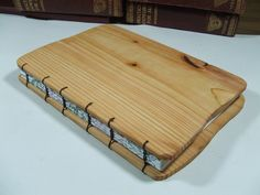 Rustic Wood Journal. Handmade Coptic Stitched Wooden Covered A5 Book