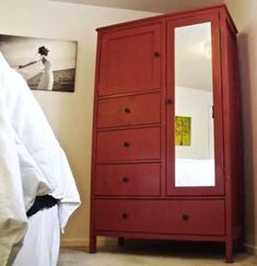 I want to make this! DIY Furniture Plan from Ana-White.com How to build an armoire with mirror. Free plans with detailed diagrams, cut list and shopping list. Featuring three small and one large drawer, a mirrored door with closet space and a top cubby, this wardrobe in a box will suit all of your bedroom storage needs!