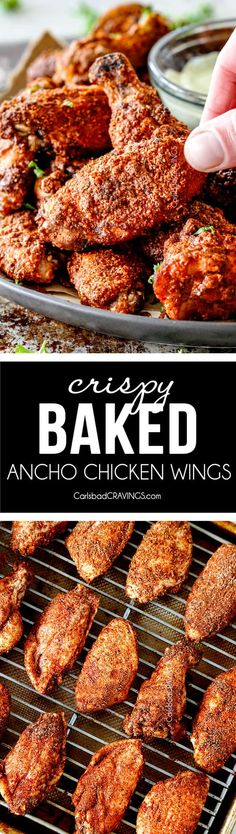 Crispy Ancho Baked Chicken Wings are tossed in the most tantalizing spice rub, baked until juicy on the inside, crispy on the outside then dunked in creamy Avocado Ranch! These are so ADDICTING and you can prep them all in advance without the hassle, mess and heart attack of fried wings!  via @carlsbadcraving