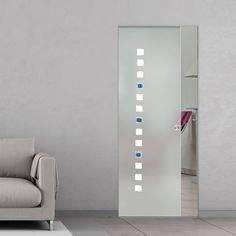 Eclisse 10mm Quadrello Murano Design on Clear or Satin Glass Syntesis Pocket Door.    #muranoglassdoor  #framelessglassdoor  #glassdoor