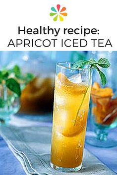 Apricot iced tea: Instead of pouring from a pitcher, you can also ladle from a punch boal with floating fruity ice ring mold. To make the ring, place apricot wedges in a ring mold, fill with water, and freeze until firm. #healthydrinkrecipe #everydayhealth | everydayhealth.com