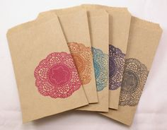 hand stamped candy buffet/party favor kraft bags with decorative doily design
