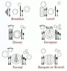 The proper way to set a table. Print and give to children as a challenge to set table before each meal. Kills two birds with one stone, teaches them how to set a table and a chore :) Life Hacks, Dining Etiquette, Etiquette Dinner, Wedding Etiquette, Tips & Tricks, Deco Table, Decoration Table, Place Settings, Kitchen Hacks