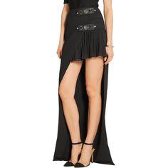 Versus Versace Embellished asymmetric pleated georgette and crepe... (860 AUD) ❤ liked on Polyvore featuring skirts, mini skirts, pleated skirt, knee length pleated skirt, asymmetrical skirt, georgette skirt and embellished skirts