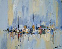 Impression marine 3 (Peinture), 40x40x50 cm par Francis Jalibert C'est une peinture à l'huile, exécutée au couteau, sur toile et châssis à clés. Vendu sans cadre It's an oil painting, executed with a knife, on canvas and key chassis