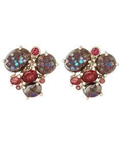 Stephen Dweck Oval Druzy Triple Stone Earrings