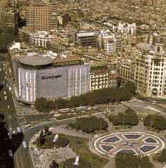 Vista aérea Plaza Catalunya, año 1976, Barcelona